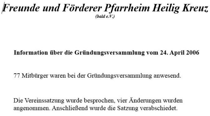 10 Jahre Pfarrheim-Verein